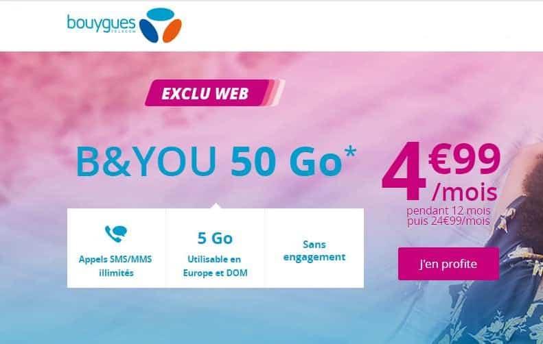 Vente flash B&YOU 4,99€ mois le forfait 50Go