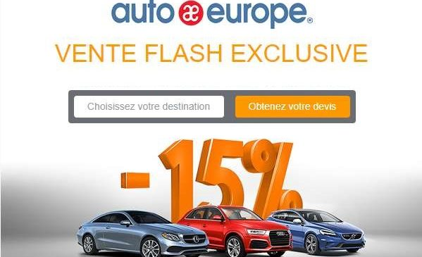 Vente flash location de voiture sur Auto Europe