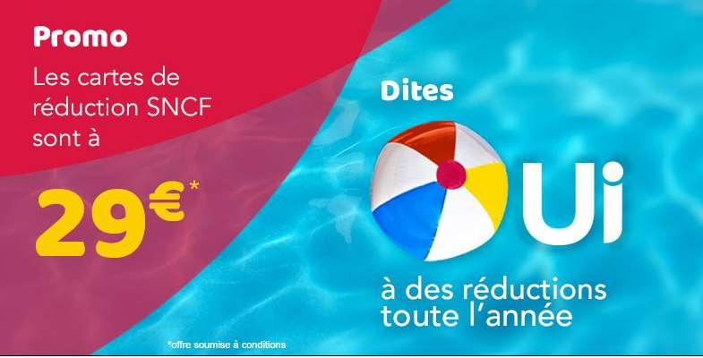 Vente flash toutes les cartes SNCF à 29€