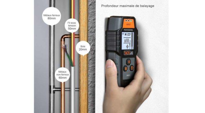 détecteur de construction Tacklife 3 en 1 (métaux + fil électrique + bois)