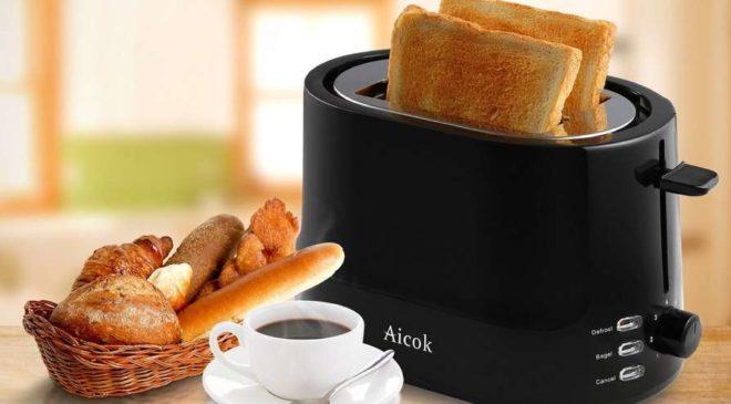 grille-pain fentes larges et paroi froide 7 niveaux de dorages Aicok
