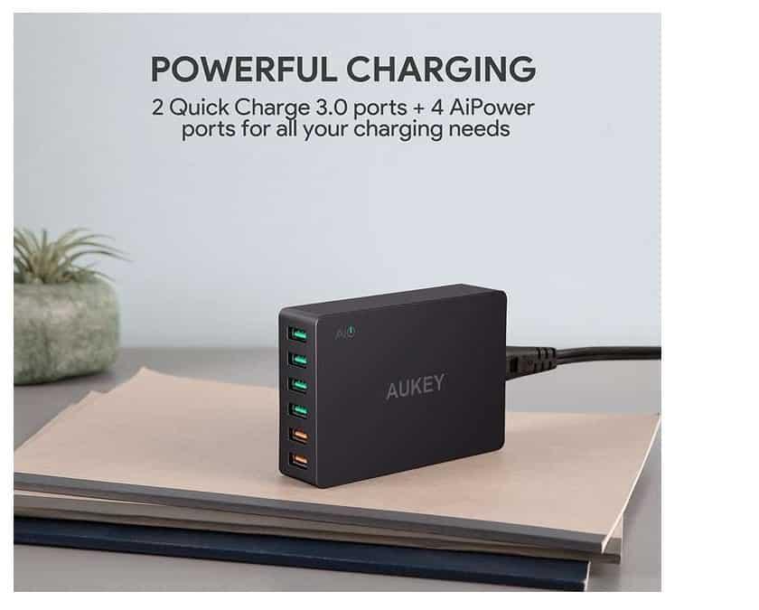 moins de 19€ le chargeur USB 6 ports Aukey dont 2 Quick Charge