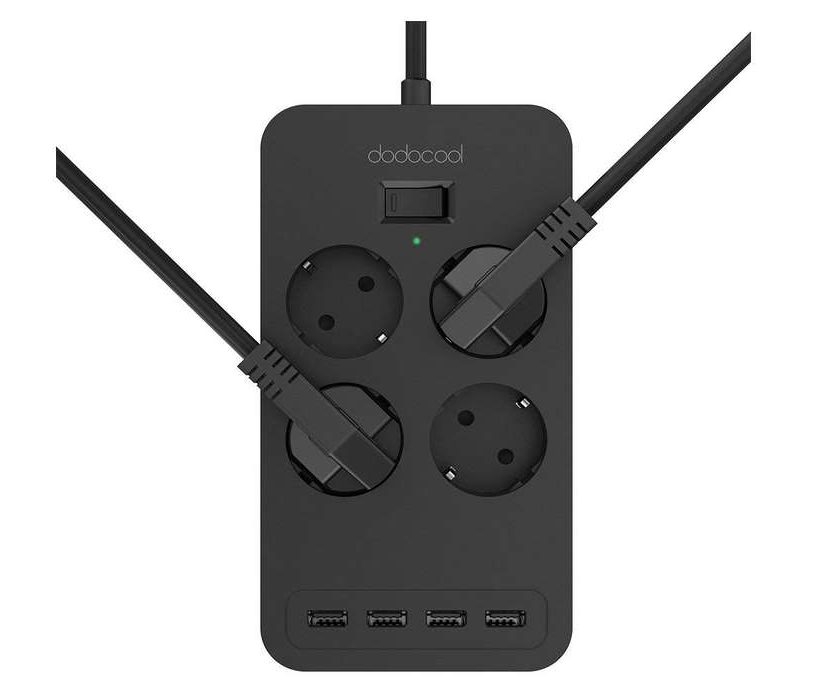 multiprise parafoudre parasurtenseur 4 prises électriques et 4 ports USB Dodocool