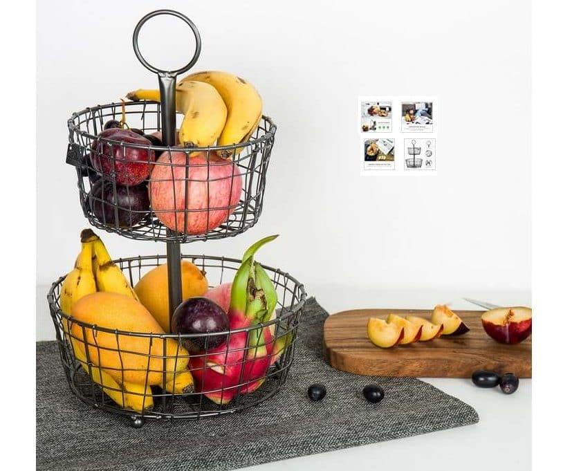 panier à fruits en métal 2 étages (séparables) Kealive