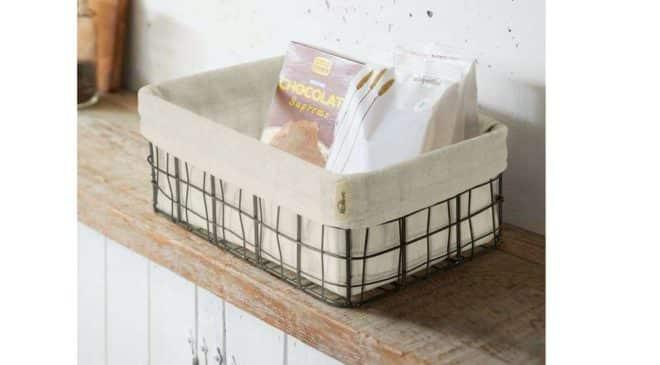 panière à pain en fil de métal et poche en lin Kealive