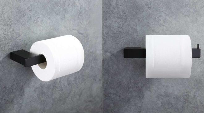 porte papier toilettes mural avec fixation invisible en acier noir