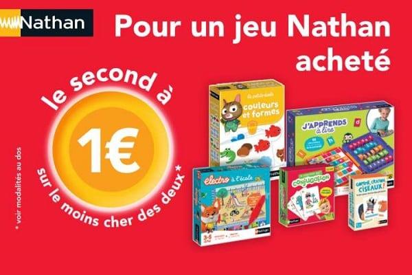 1 Jeu Nathan Acheté = Le Second à 1€ Offre De Remboursement