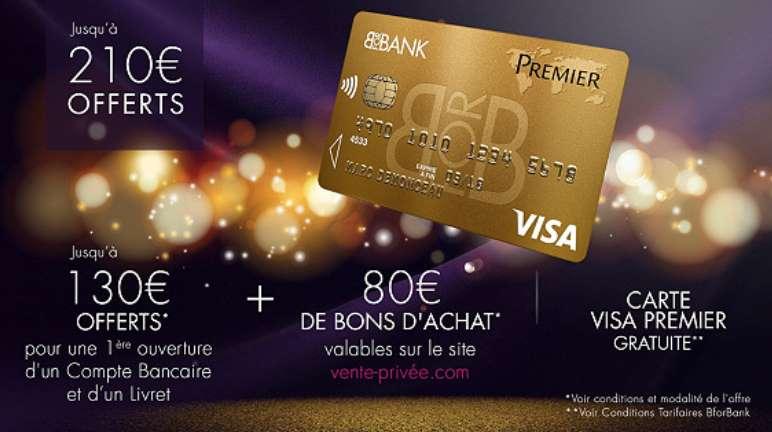 130€ offerts par BforBank 80€ par Vente Privée