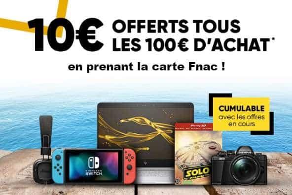 FNAC 10 euros par tranche de 100 euros