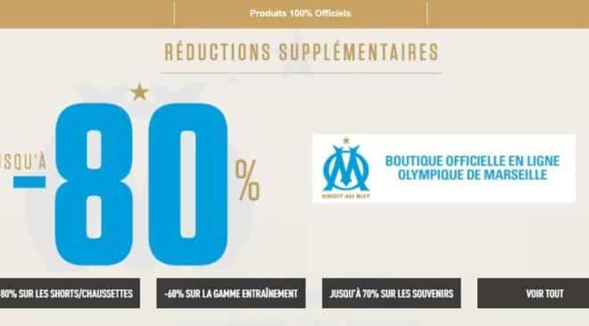 Fin de saison Olympique Marseille jusqu'à -80% sur la boutique OM