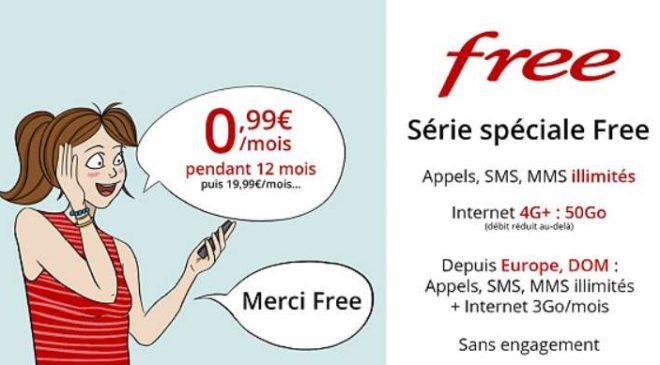 Forfait Série Spéciale Free 0,99€ par mois les 50Go