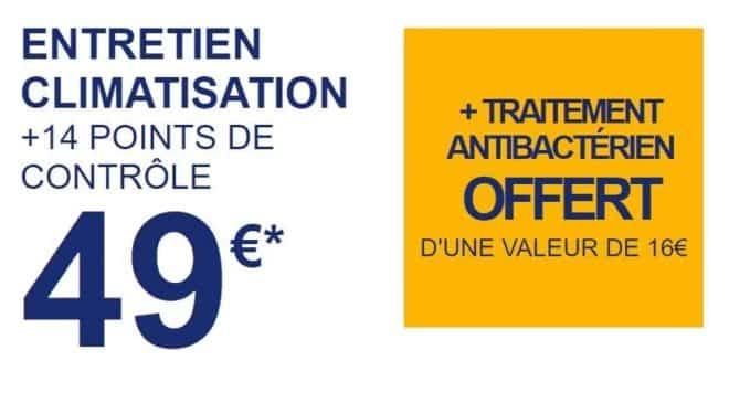 Offre climatisation auto forfait Entretien Climatisation Norauto + traitement antibactérien gratuit