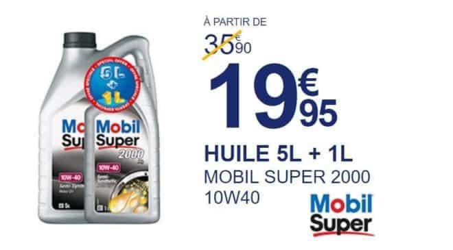 Promo 19,95€ huile Mobil Super 2000 10W40 5L + 1L gratuit