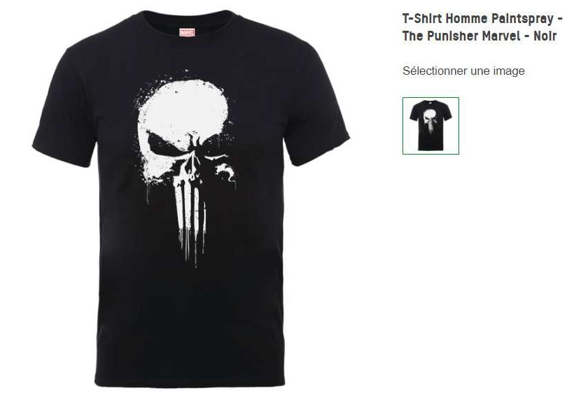 T-shirt officiel The Punisher Marvel homme - livraison gratuite