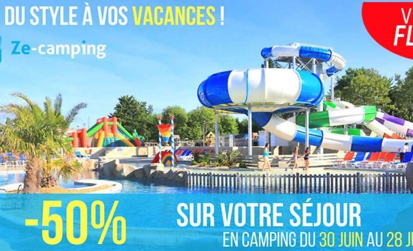 Vente flash jusqu'à moins 50% sur vos séjours en Camping Ze-Camping