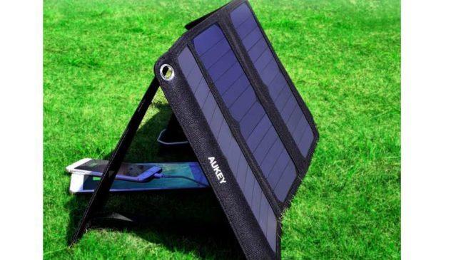 chargeur solaire Aukey 21W avec 2 ports USB 2 A