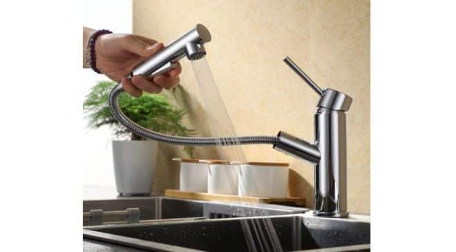 45 99 robinet avec douchette extractible 2 jets pour cuisine ou salle de bain homelody. Black Bedroom Furniture Sets. Home Design Ideas