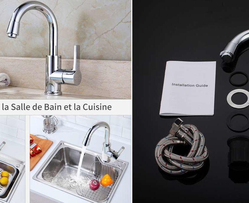 robinet mitigeur de salle de bain ou cuisine pivotant Homelody