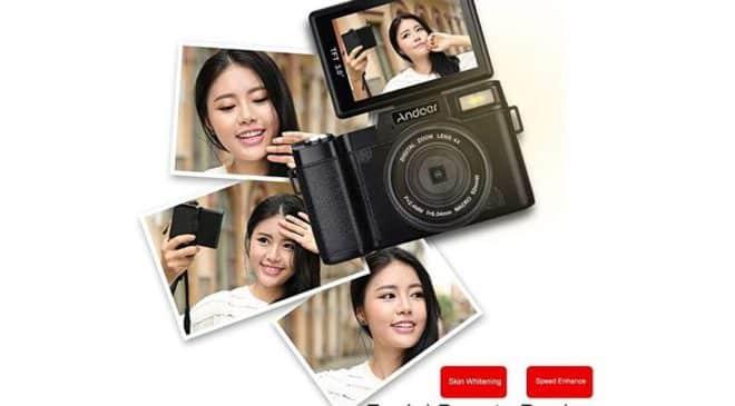 38€ appareil photo Full HD 24MP Zoom x4, grand angle avec écran dépliable (pour Selfie) Andoer CDR2