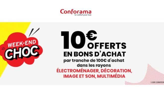 Conforama offre 10€ tous les 100€
