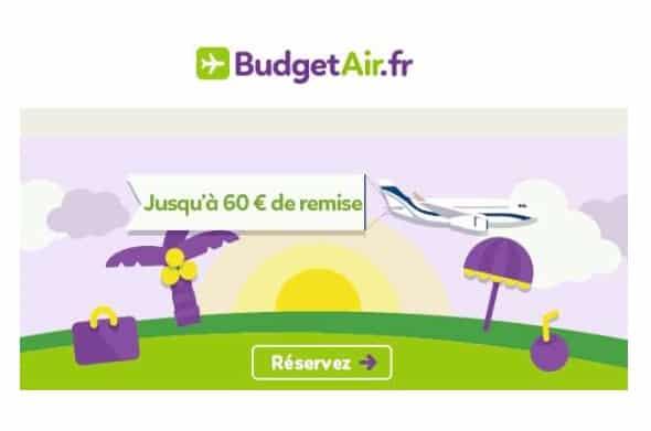 Jusqu'à 60€ de remise sur votre billet d'avion toutes destinations BudgetAir