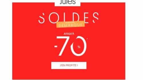 Jusqu'à -70% en dernière démarque soldes Jules