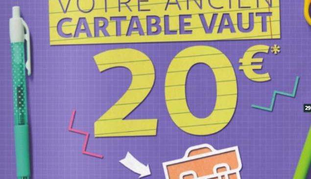 Rentrée scolaire 1 cartable ramené chez Auchan