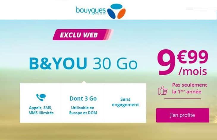 forfait B&You 30Go Série Spéciale à 9,99€