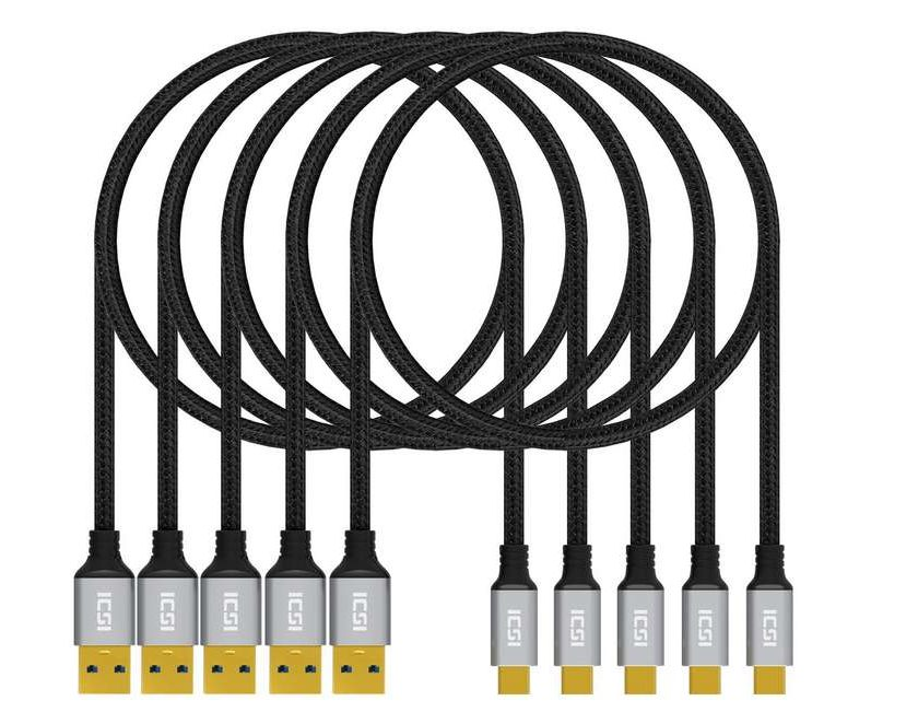 lot de 5 câbles USB C vers USB 3.0 à 3,89€ ICZI