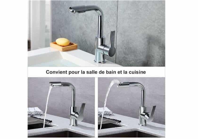 robinet de cuisine ou salle de bain pivotant à 360 degrés Homelody SOLDES