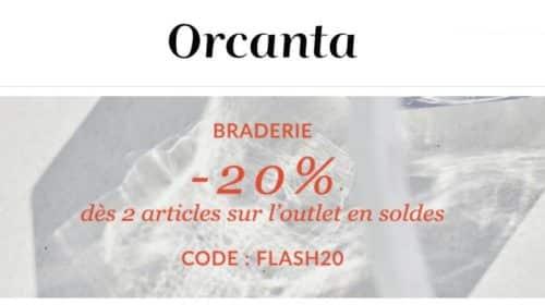 20% supplémentaire sur Outlet en soldes Orcanta