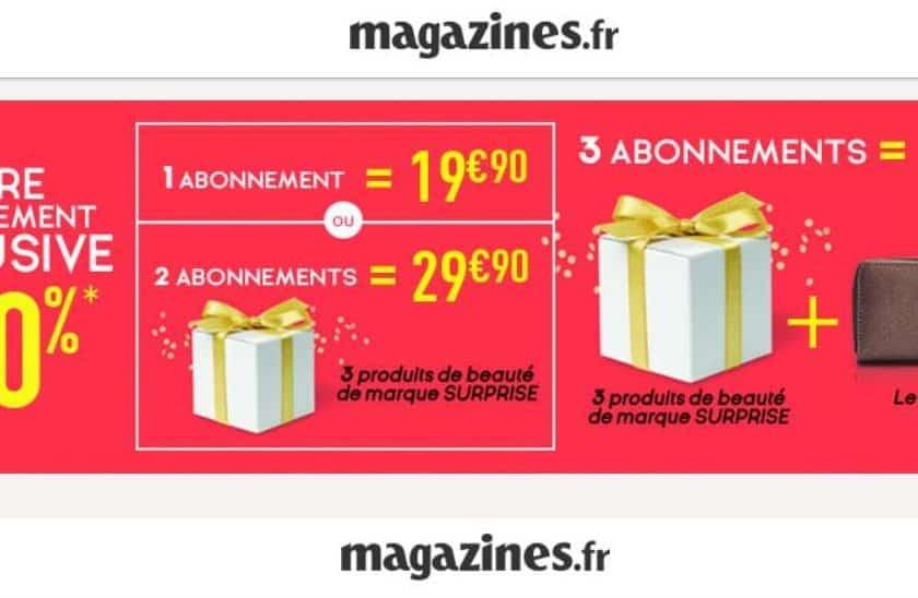 29,90€ abonnement 2 magazines au choix + cadeau beauté