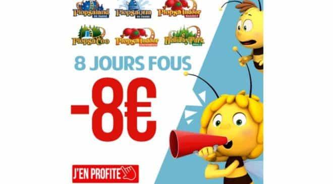 8 Jours Fous Plopsa -8€ entrée Plopsaland, Plopsaqua, Plopsa Indoor, Plopsa Coo et Holiday Park