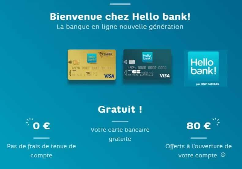 80 euros offerts et carte Visa gratuite pour l'ouverture d'un compte Hello bank
