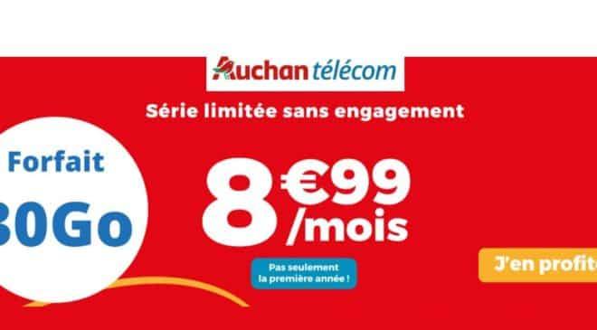 8,99€ forfait mobile 30Go Auchan Telecom A VIE