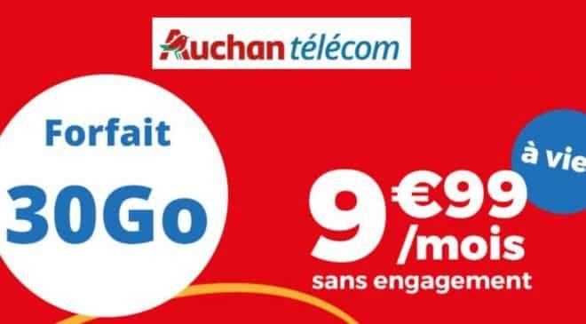 9,99€ forfait mobile 30Go Auchan Telecom A VIE
