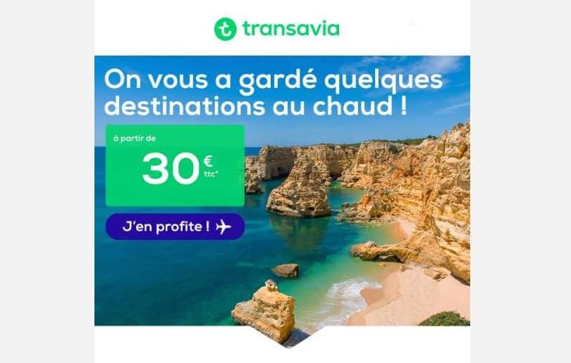 Vol pas cher à partir de 30€ le billet Transavia