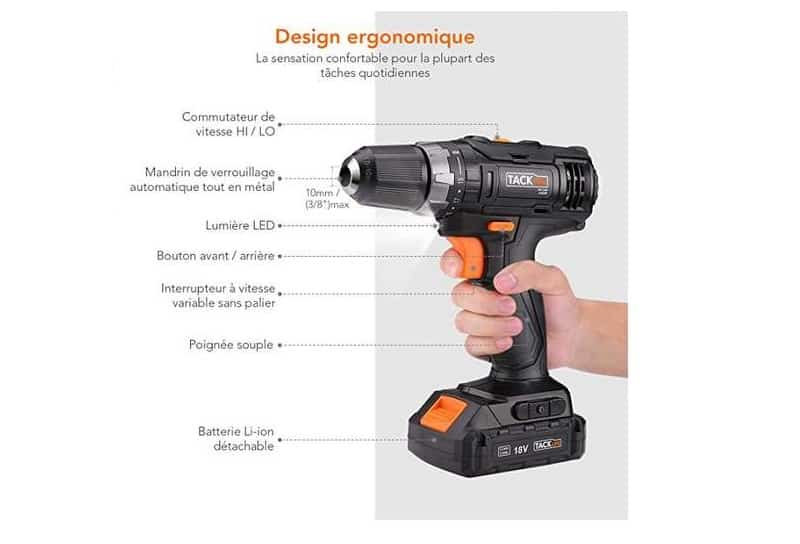 perceuse visseuse sans fil Tacklife 18V Lithium-ion PCD06C