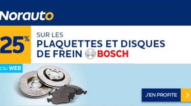 remise sur les disques et plaquettes de frein Bosch sur Norauto