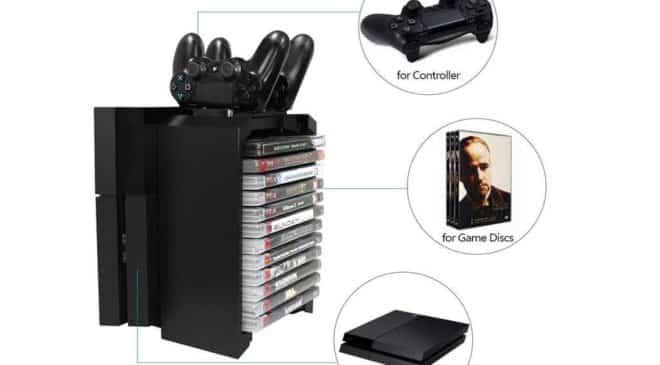 support vertical pour PS4, avec chargeur joystick et rangement pour jeux Docooler