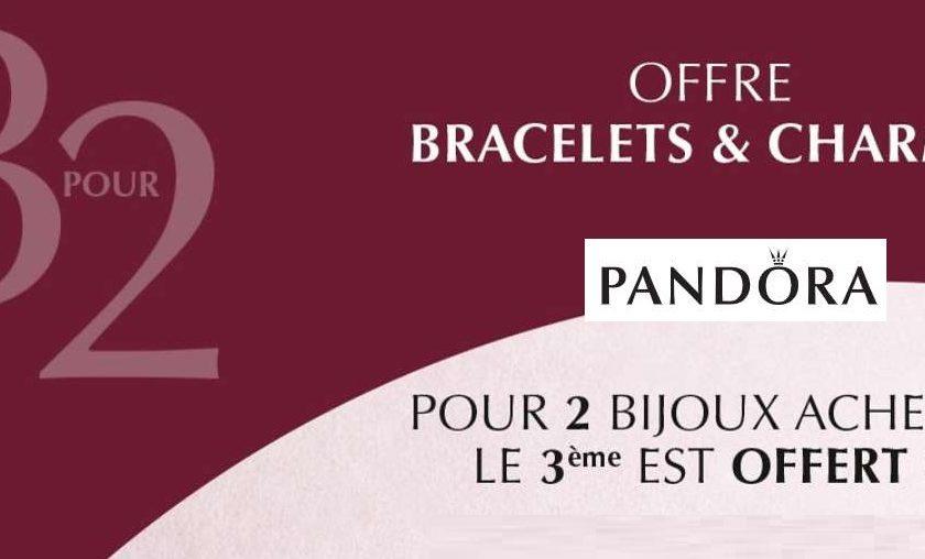 2 bijoux Pandora achetés le troisième offert (