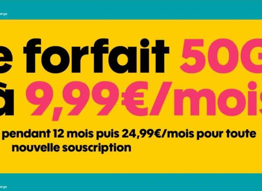 9,99€ par mois le Forfait SOSH 50Go