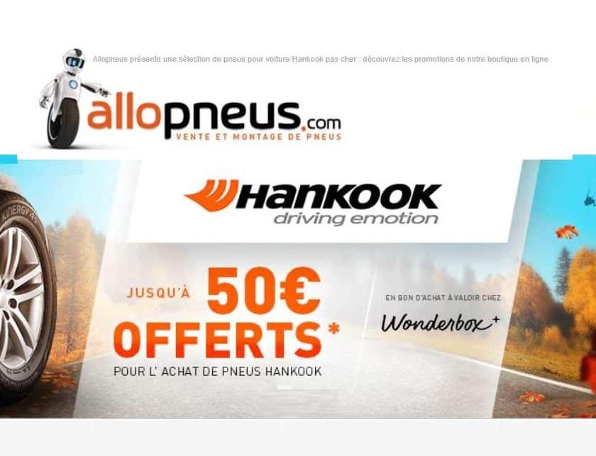 Jusqu'à 50€ offert sur l'achat de pneus Hankook