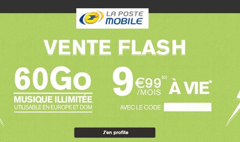 Vente flash La Poste Mobile 60Go A VIE