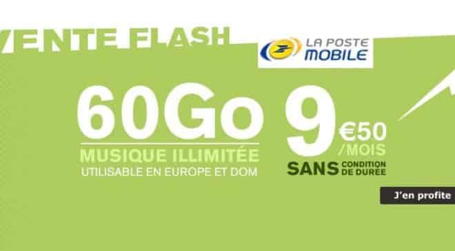 Vente flash La Poste Mobile 9,50€ forfait 60Go A VIE