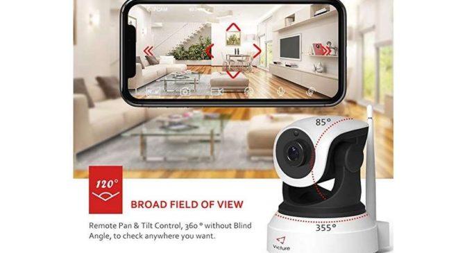 caméra Wi-fi de surveillance rotative Victure avec vision nocturne et détection de mouvement