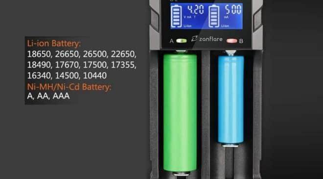 chargeur de piles avec écran LCD Zanflare C2