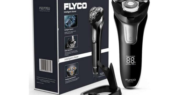 rasoir 3 têtes flexibles Flyco Wet&Dry, rechargeable, écran LED