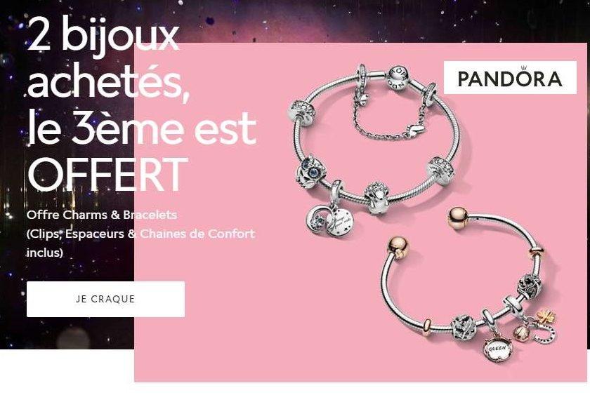 2 bijoux Pandora achetés = le troisième offert