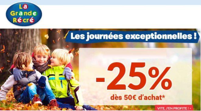 25% de remise sur la Grande Récré dès 50€